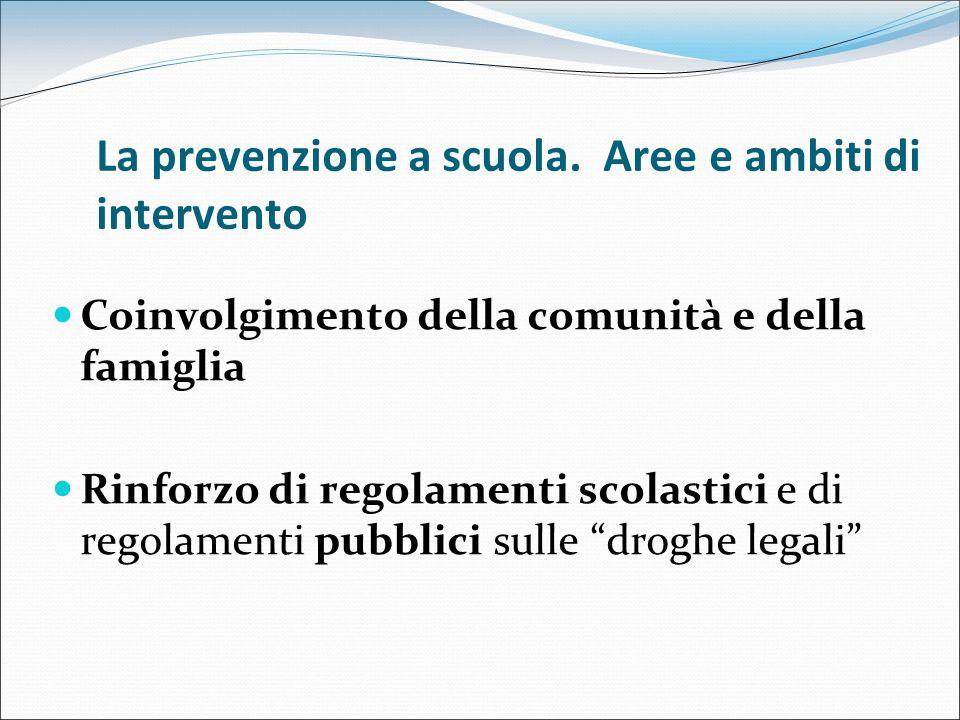 La prevenzione a scuola. Aree e ambiti di intervento Coinvolgimento della comunità e della famiglia Rinforzo di regolamenti scolastici e di regolament