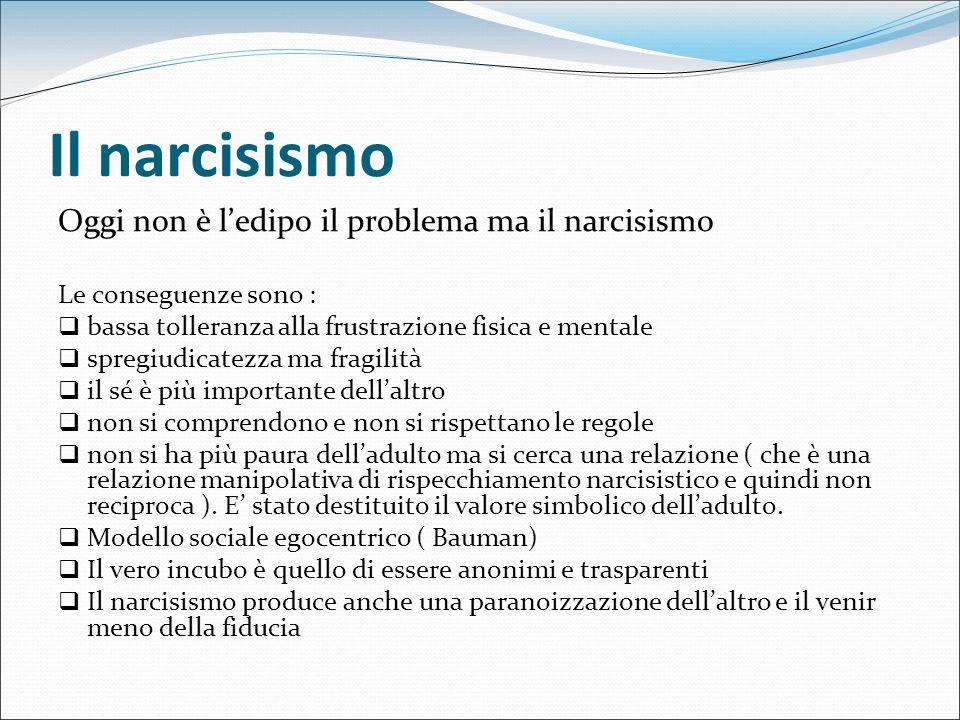 Il narcisismo Oggi non è ledipo il problema ma il narcisismo Le conseguenze sono : bassa tolleranza alla frustrazione fisica e mentale spregiudicatezz