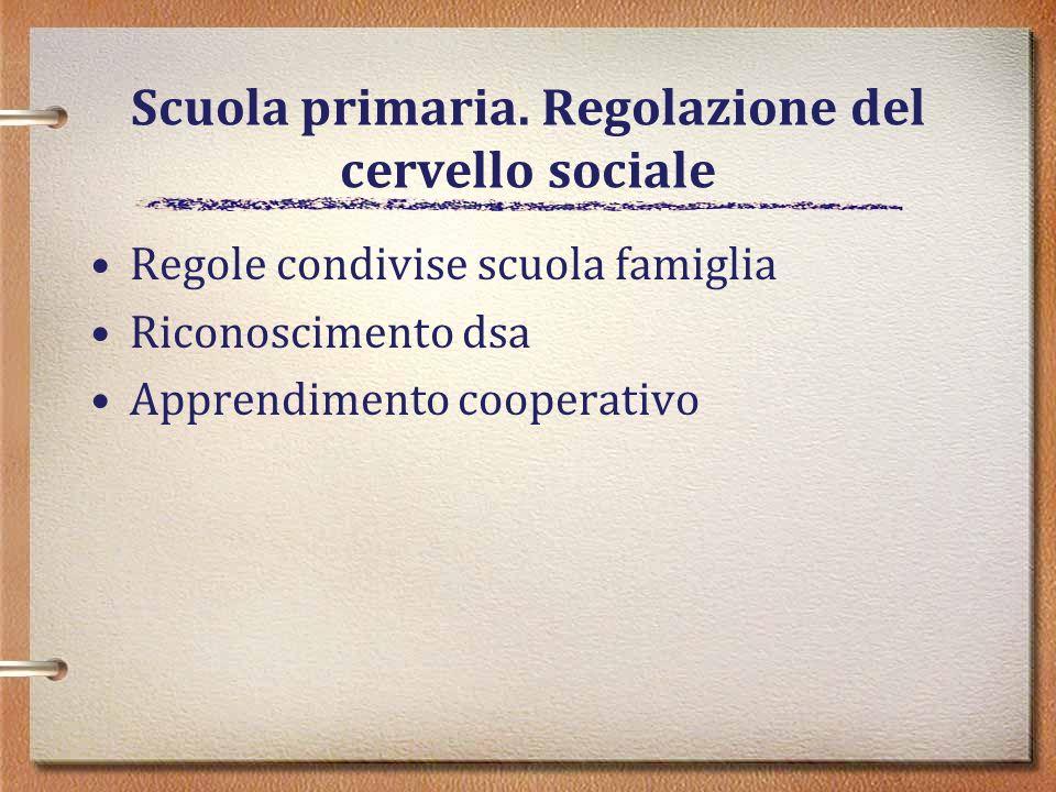 Scuola primaria. Regolazione del cervello sociale Regole condivise scuola famiglia Riconoscimento dsa Apprendimento cooperativo