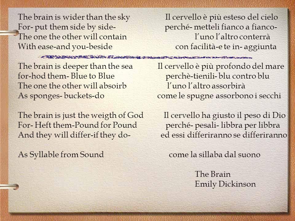 The brain is wider than the sky Il cervello è più esteso del cielo For- put them side by side- perché- metteli fianco a fianco- The one the other will