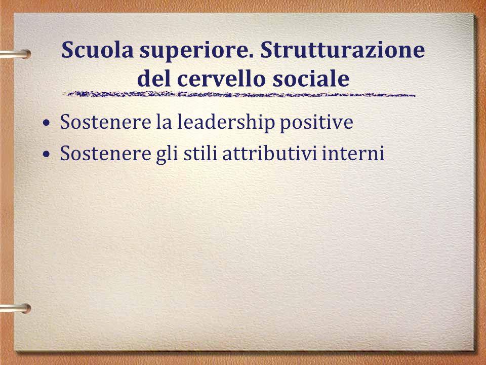Scuola superiore. Strutturazione del cervello sociale Sostenere la leadership positive Sostenere gli stili attributivi interni