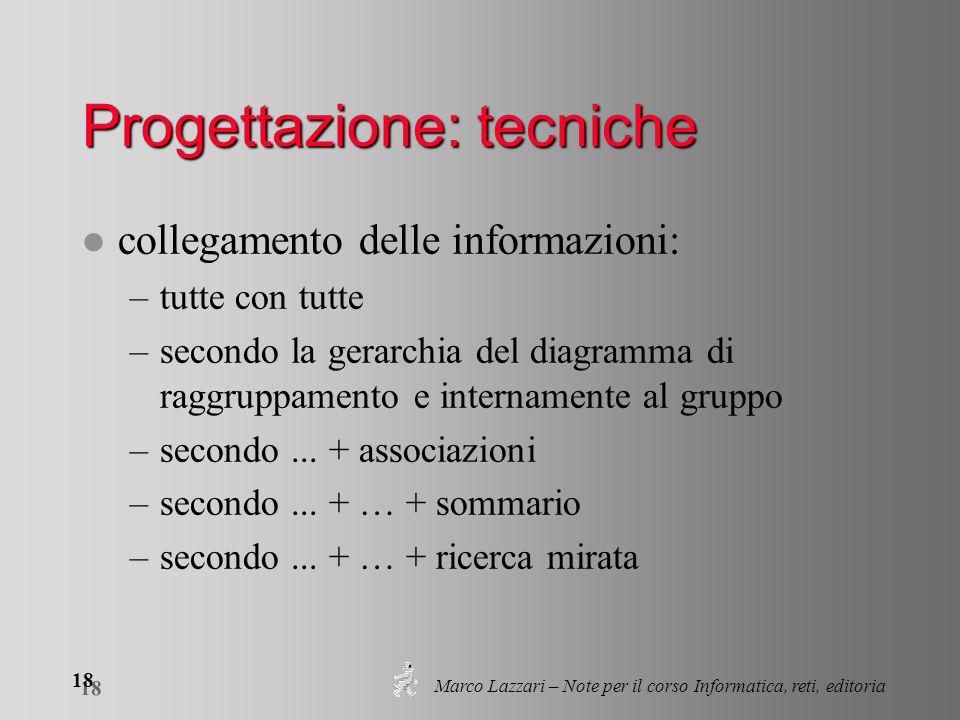 Marco Lazzari – Note per il corso Informatica, reti, editoria 18 Progettazione: tecniche l collegamento delle informazioni: –tutte con tutte –secondo