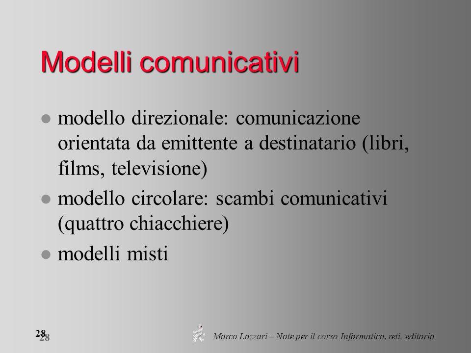 Marco Lazzari – Note per il corso Informatica, reti, editoria 28 Modelli comunicativi l modello direzionale: comunicazione orientata da emittente a de
