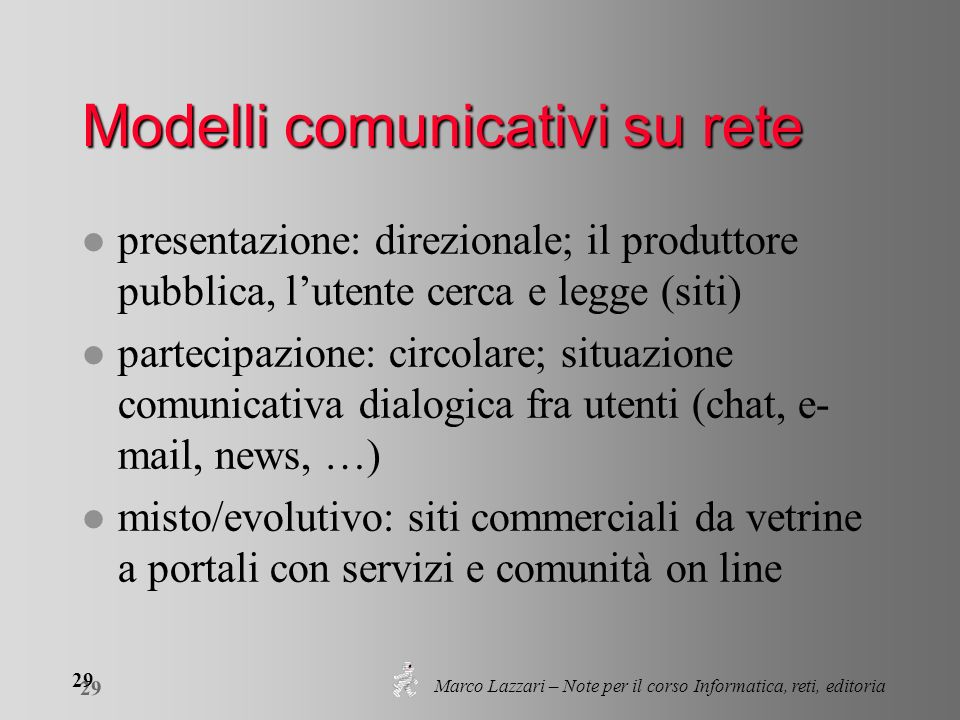 Marco Lazzari – Note per il corso Informatica, reti, editoria 29 Modelli comunicativi su rete l presentazione: direzionale; il produttore pubblica, lu