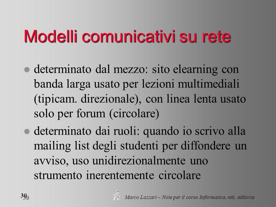 Marco Lazzari – Note per il corso Informatica, reti, editoria 30 Modelli comunicativi su rete l determinato dal mezzo: sito elearning con banda larga