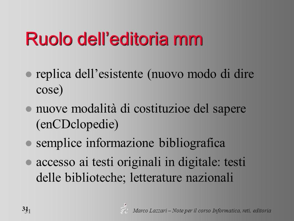 Marco Lazzari – Note per il corso Informatica, reti, editoria 31 Ruolo delleditoria mm l replica dellesistente (nuovo modo di dire cose) l nuove modal