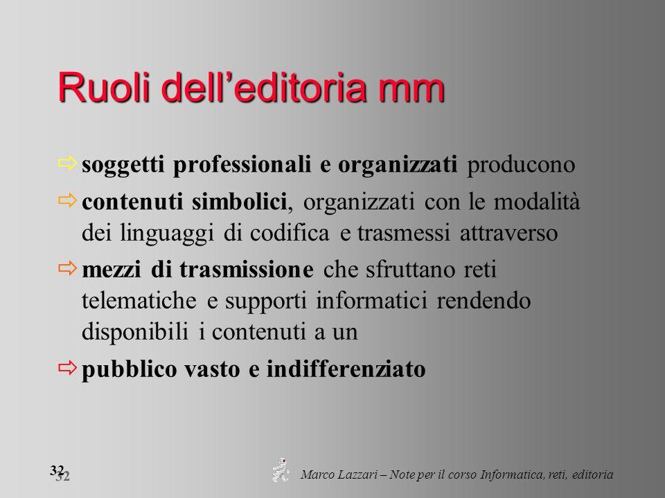 Marco Lazzari – Note per il corso Informatica, reti, editoria 32 Ruoli delleditoria mm soggetti professionali e organizzati producono contenuti simbol