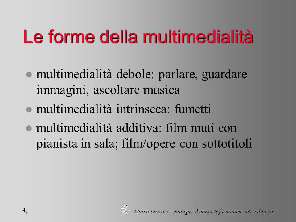 Marco Lazzari – Note per il corso Informatica, reti, editoria 4 4 Le forme della multimedialità l multimedialità debole: parlare, guardare immagini, a