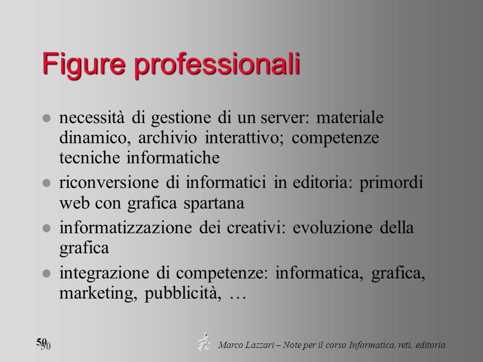 Marco Lazzari – Note per il corso Informatica, reti, editoria 50 Figure professionali l necessità di gestione di un server: materiale dinamico, archiv