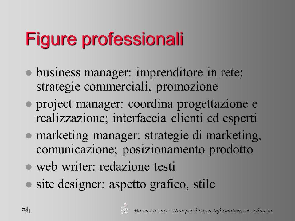 Marco Lazzari – Note per il corso Informatica, reti, editoria 51 Figure professionali l business manager: imprenditore in rete; strategie commerciali,