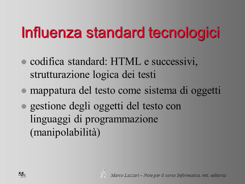 Marco Lazzari – Note per il corso Informatica, reti, editoria 55 Influenza standard tecnologici l codifica standard: HTML e successivi, strutturazione