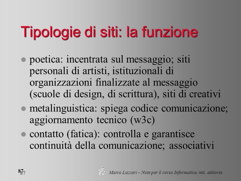 Marco Lazzari – Note per il corso Informatica, reti, editoria 87 Tipologie di siti: la funzione l poetica: incentrata sul messaggio; siti personali di