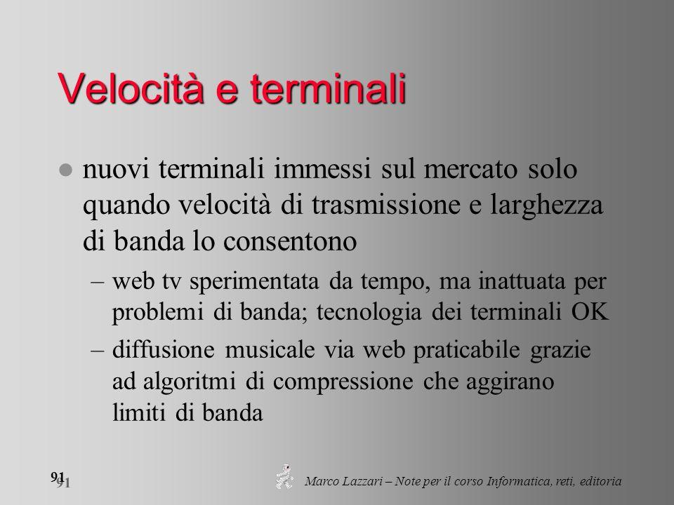 Marco Lazzari – Note per il corso Informatica, reti, editoria 91 Velocità e terminali l nuovi terminali immessi sul mercato solo quando velocità di tr