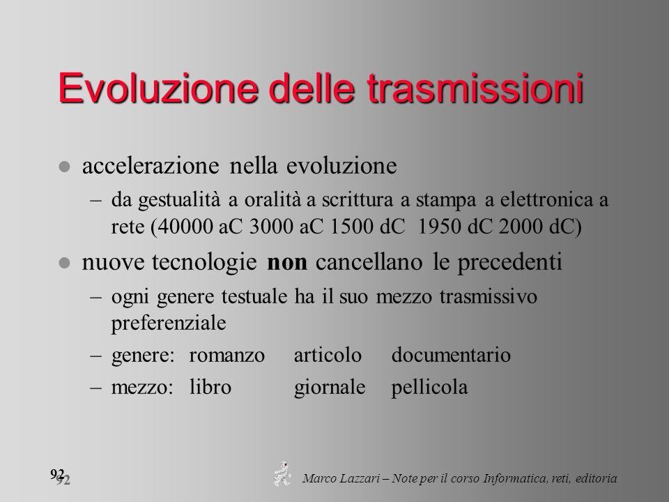 Marco Lazzari – Note per il corso Informatica, reti, editoria 92 Evoluzione delle trasmissioni l accelerazione nella evoluzione –da gestualità a orali