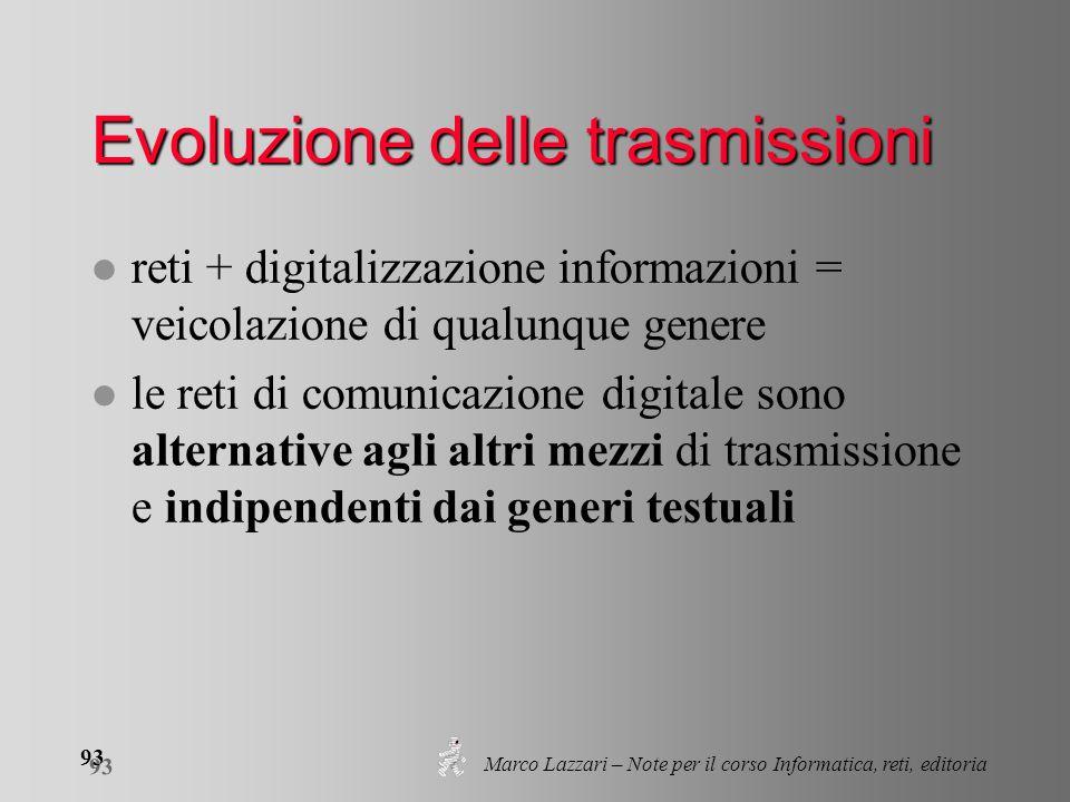 Marco Lazzari – Note per il corso Informatica, reti, editoria 93 Evoluzione delle trasmissioni l reti + digitalizzazione informazioni = veicolazione d