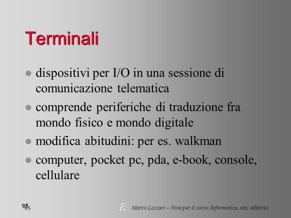 Marco Lazzari – Note per il corso Informatica, reti, editoria 95 Terminali l dispositivi per I/O in una sessione di comunicazione telematica l compren