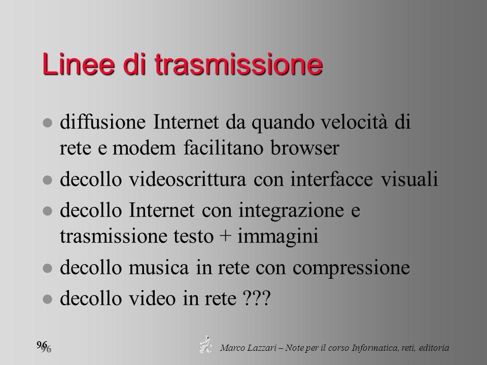 Marco Lazzari – Note per il corso Informatica, reti, editoria 96 Linee di trasmissione l diffusione Internet da quando velocità di rete e modem facili