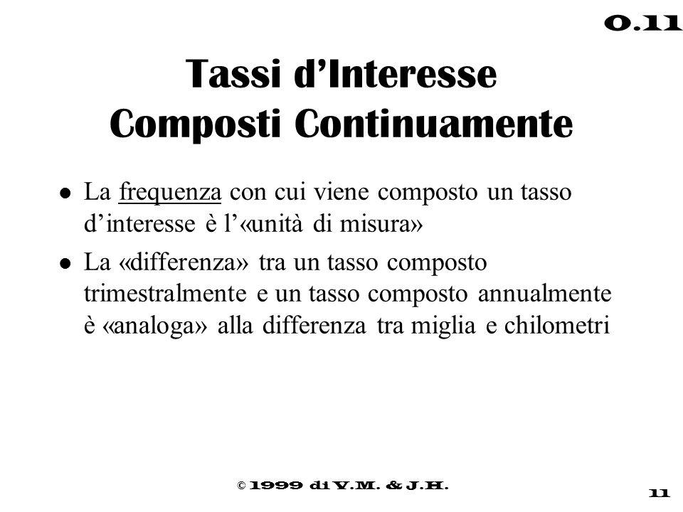 © 1999 di V.M. & J.H. 11 0.11 Tassi dInteresse Composti Continuamente l La frequenza con cui viene composto un tasso dinteresse è l«unità di misura» l