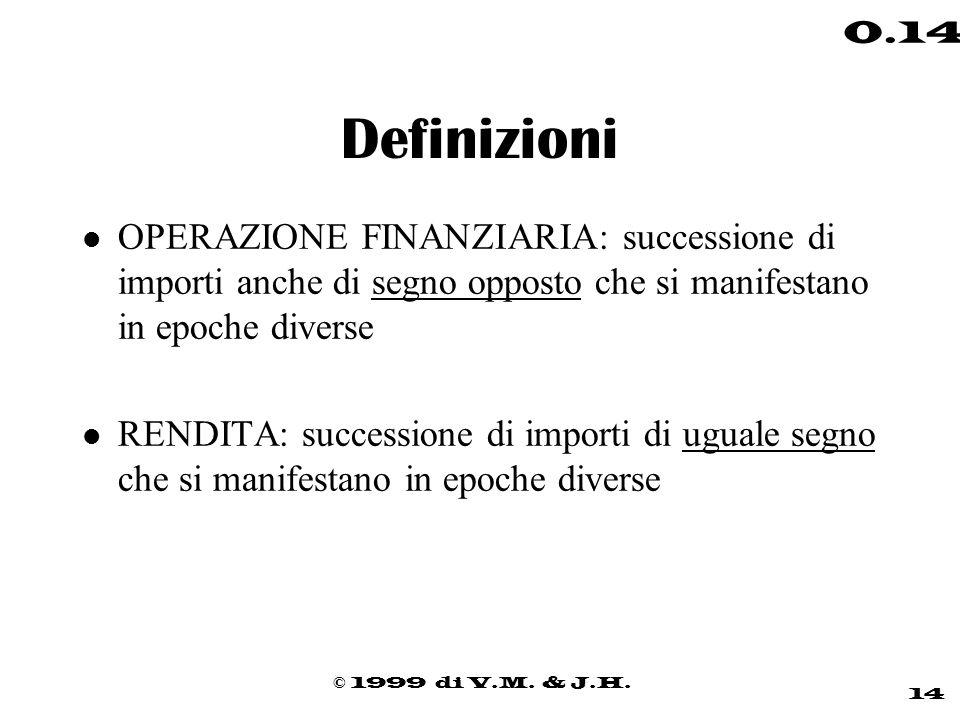 © 1999 di V.M. & J.H. 14 0.14 Definizioni l OPERAZIONE FINANZIARIA: successione di importi anche di segno opposto che si manifestano in epoche diverse
