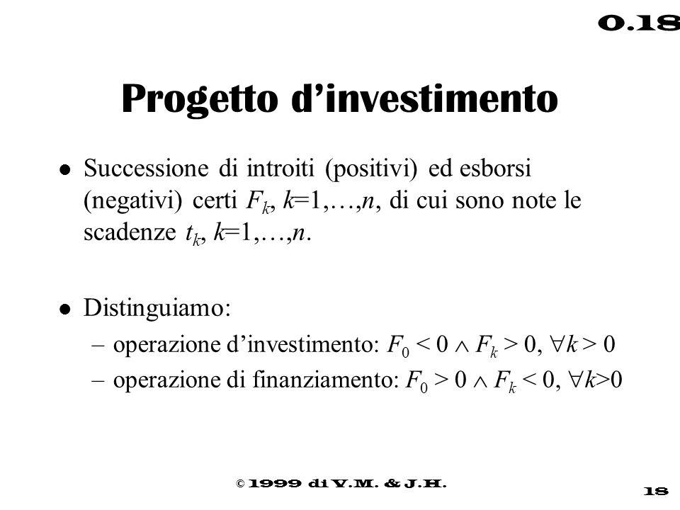 © 1999 di V.M. & J.H. 18 0.18 Progetto dinvestimento l Successione di introiti (positivi) ed esborsi (negativi) certi F k, k=1,…,n, di cui sono note l