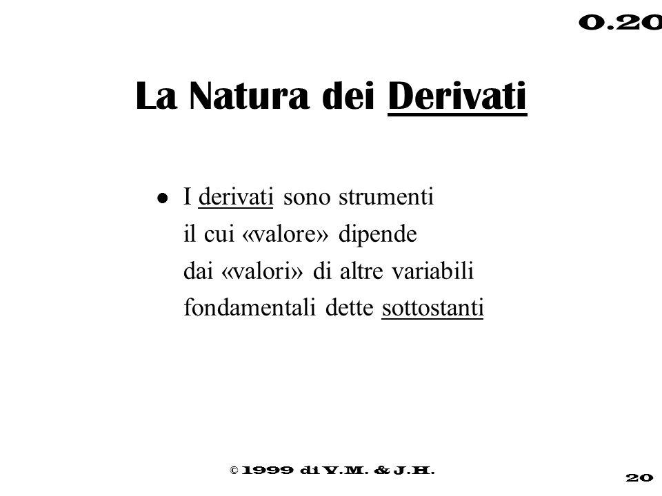 © 1999 di V.M. & J.H. 20 0.20 La Natura dei Derivati l I derivati sono strumenti il cui «valore» dipende dai «valori» di altre variabili fondamentali