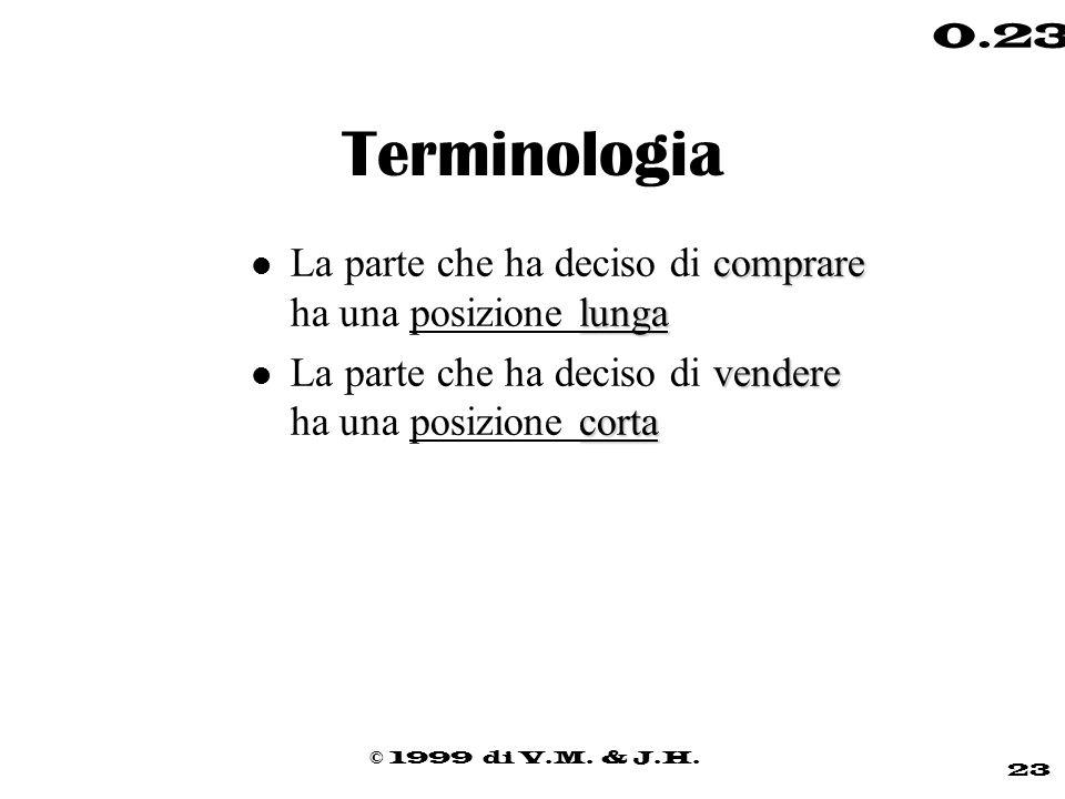 © 1999 di V.M. & J.H. 23 0.23 Terminologia comprare lunga l La parte che ha deciso di comprare ha una posizione lunga vendere corta l La parte che ha
