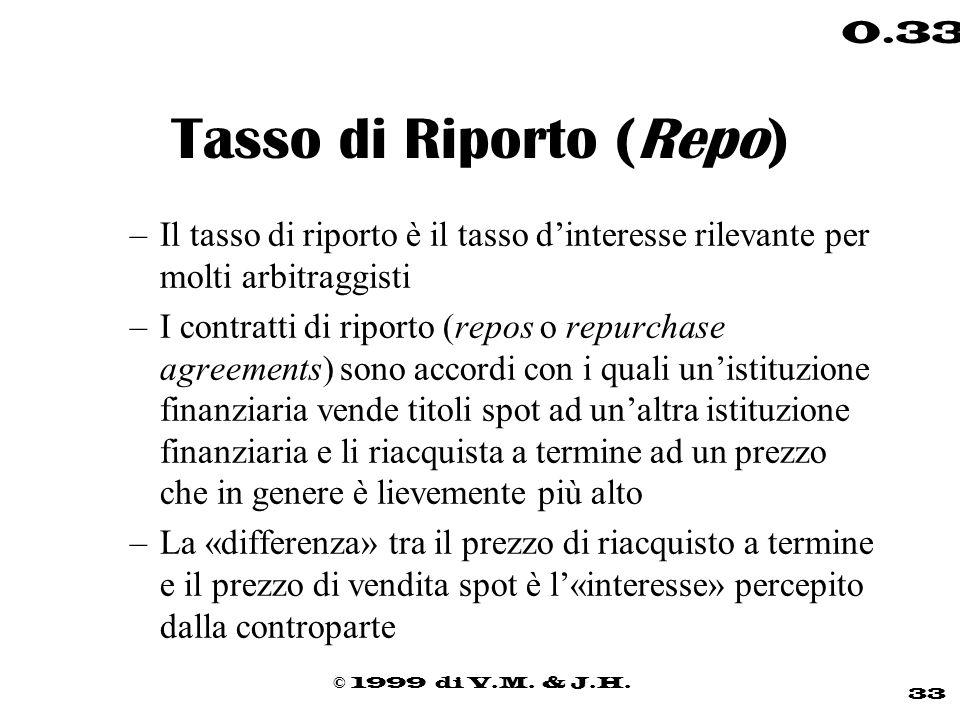 © 1999 di V.M. & J.H. 33 0.33 Tasso di Riporto (Repo) –Il tasso di riporto è il tasso dinteresse rilevante per molti arbitraggisti –I contratti di rip