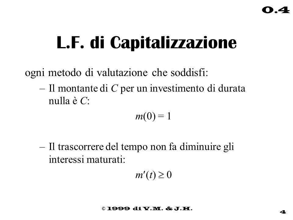 © 1999 di V.M. & J.H. 4 0.4 L.F. di Capitalizzazione ogni metodo di valutazione che soddisfi: –Il montante di C per un investimento di durata nulla è