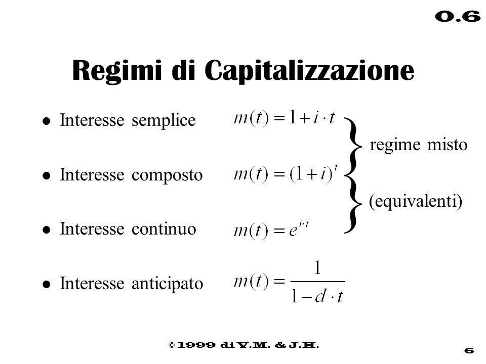 © 1999 di V.M. & J.H. 6 0.6 Regimi di Capitalizzazione l Interesse semplice l Interesse composto l Interesse continuo l Interesse anticipato regime mi
