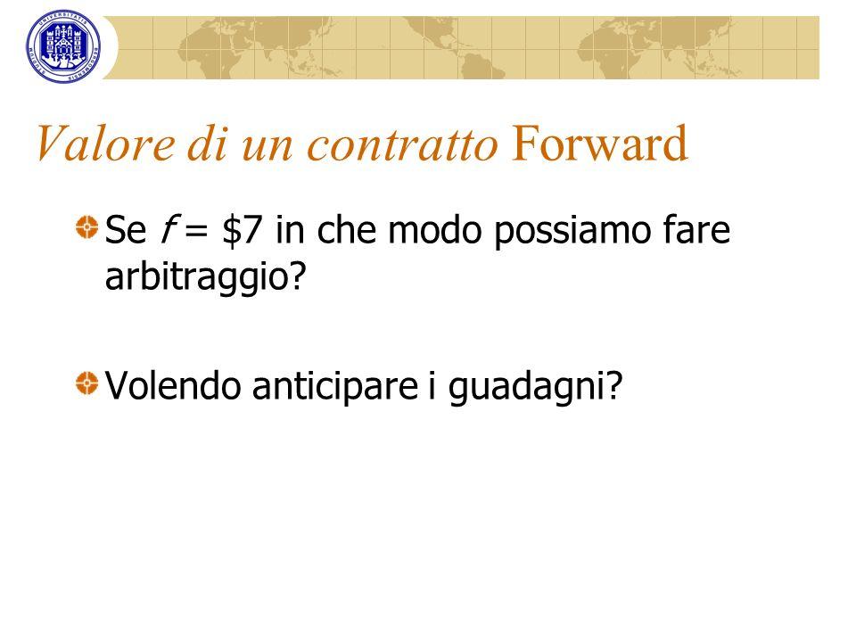 Valore di un contratto Forward Se f = $7 in che modo possiamo fare arbitraggio? Volendo anticipare i guadagni?