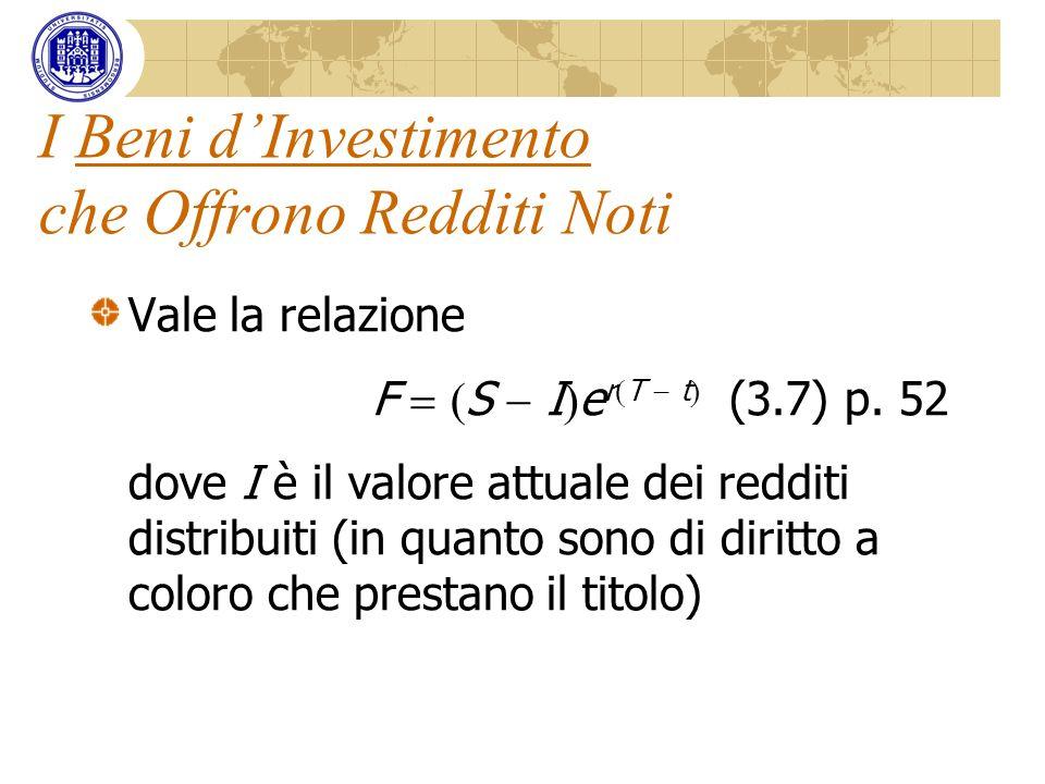I Beni dInvestimento che Offrono Redditi Noti Vale la relazione F S I e r T t (3.7) p. 52 dove I è il valore attuale dei redditi distribuiti (in quant
