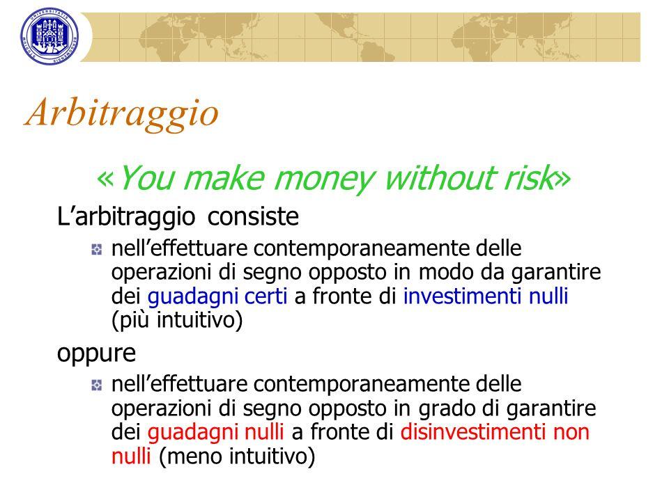 Arbitraggio «You make money without risk» Larbitraggio consiste nelleffettuare contemporaneamente delle operazioni di segno opposto in modo da garanti