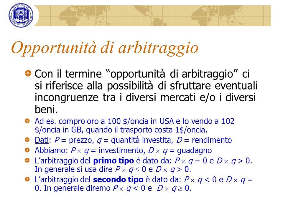 Opportunità di arbitraggio Con il termine opportunità di arbitraggio ci si riferisce alla possibilità di sfruttare eventuali incongruenze tra i divers
