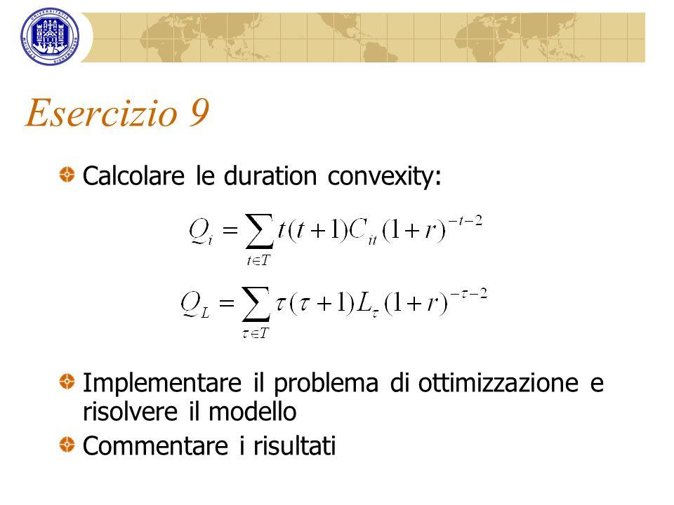 Esercizio 9 Calcolare le duration convexity: Implementare il problema di ottimizzazione e risolvere il modello Commentare i risultati
