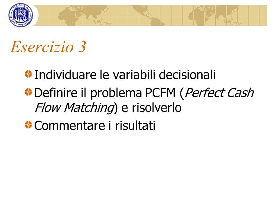 Esercizio 3 Individuare le variabili decisionali Definire il problema PCFM (Perfect Cash Flow Matching) e risolverlo Commentare i risultati