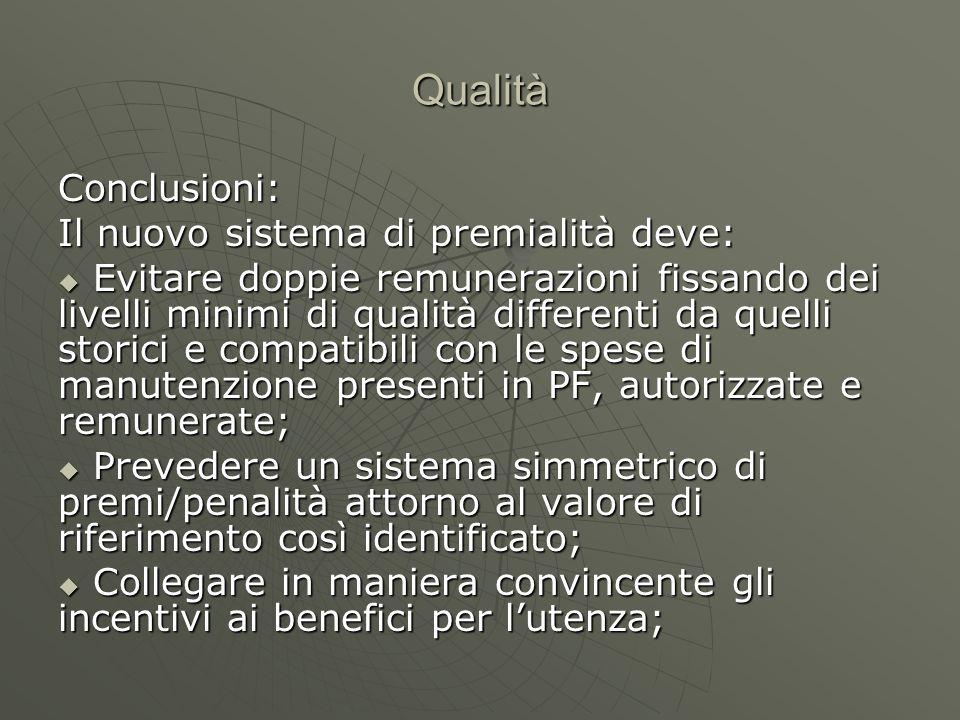 Qualità Conclusioni: Il nuovo sistema di premialità deve soprattutto …..
