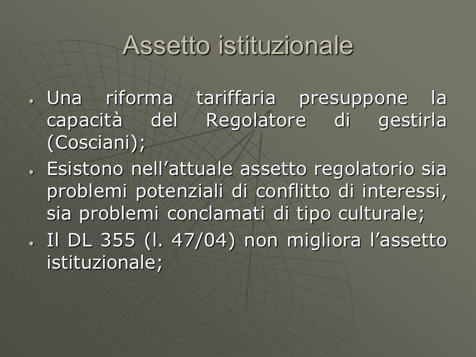 Assetto istituzionale Una riforma tariffaria presuppone la capacità del Regolatore di gestirla (Cosciani); Una riforma tariffaria presuppone la capaci