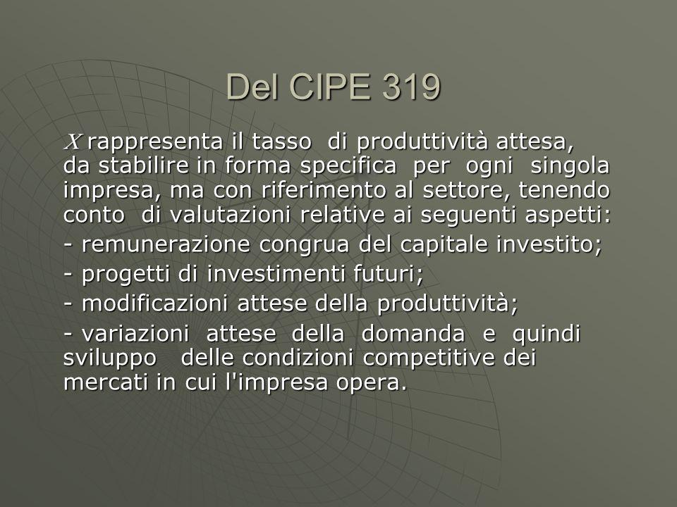 Del CIPE 319 rappresenta il tasso di produttività attesa, da stabilire in forma specifica per ogni singola impresa, ma con riferimento al settore, ten