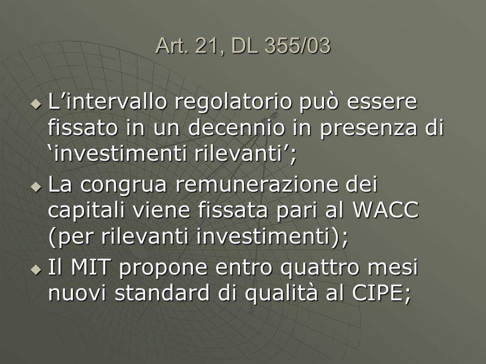 Art. 21, DL 355/03 Lintervallo regolatorio può essere fissato in un decennio in presenza di investimenti rilevanti; Lintervallo regolatorio può essere