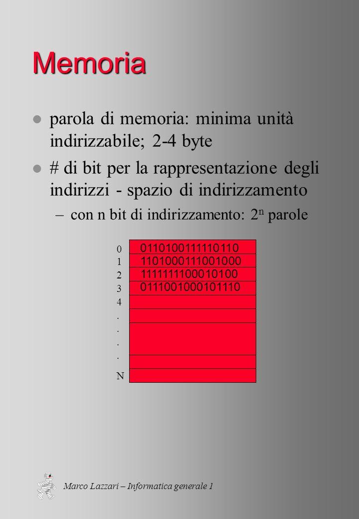 Marco Lazzari – Informatica generale 1 Memoria l parola di memoria: minima unità indirizzabile; 2-4 byte l # di bit per la rappresentazione degli indirizzi - spazio di indirizzamento –con n bit di indirizzamento: 2 n parole 01234....N01234....N 0110100111110110 1101000111001000 1111111100010100 0111001000101110