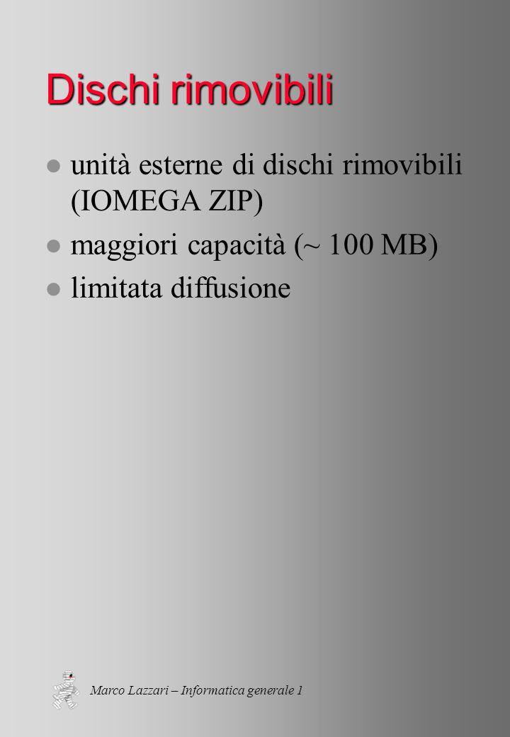 Marco Lazzari – Informatica generale 1 Dischi rimovibili l unità esterne di dischi rimovibili (IOMEGA ZIP) l maggiori capacità (~ 100 MB) l limitata diffusione
