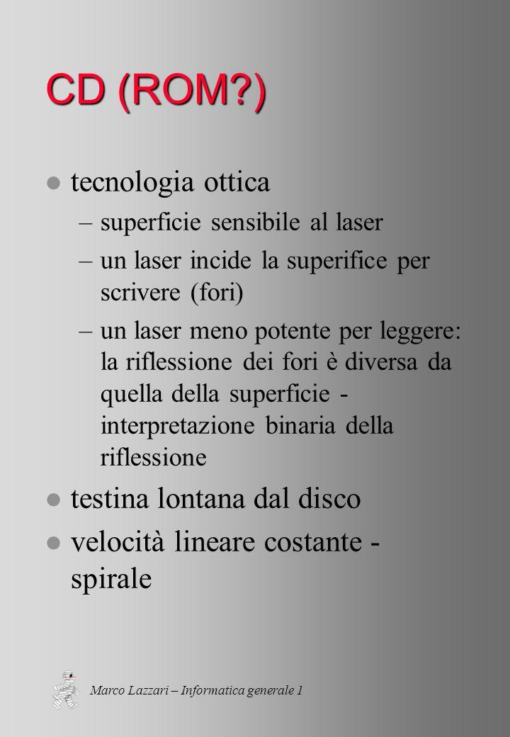 Marco Lazzari – Informatica generale 1 CD (ROM?) l CD in sola lettura (si fa per dire) l masterizzazione: CD scrivibili l masterizzazione: CD riscrivibili l DVD: formato più efficiente, nello stesso spazio 8.5 GB