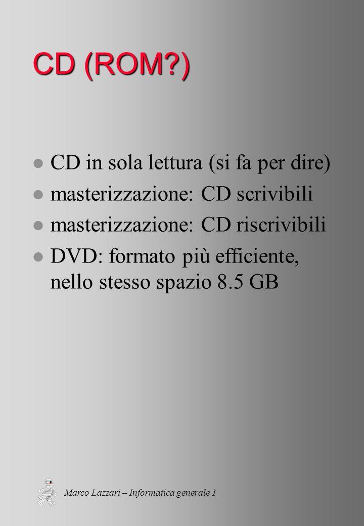 Marco Lazzari – Informatica generale 1 CD (ROM ) l CD in sola lettura (si fa per dire) l masterizzazione: CD scrivibili l masterizzazione: CD riscrivibili l DVD: formato più efficiente, nello stesso spazio 8.5 GB