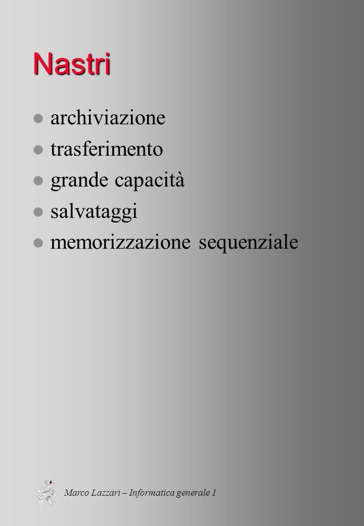 Marco Lazzari – Informatica generale 1 Nastri l archiviazione l trasferimento l grande capacità l salvataggi l memorizzazione sequenziale