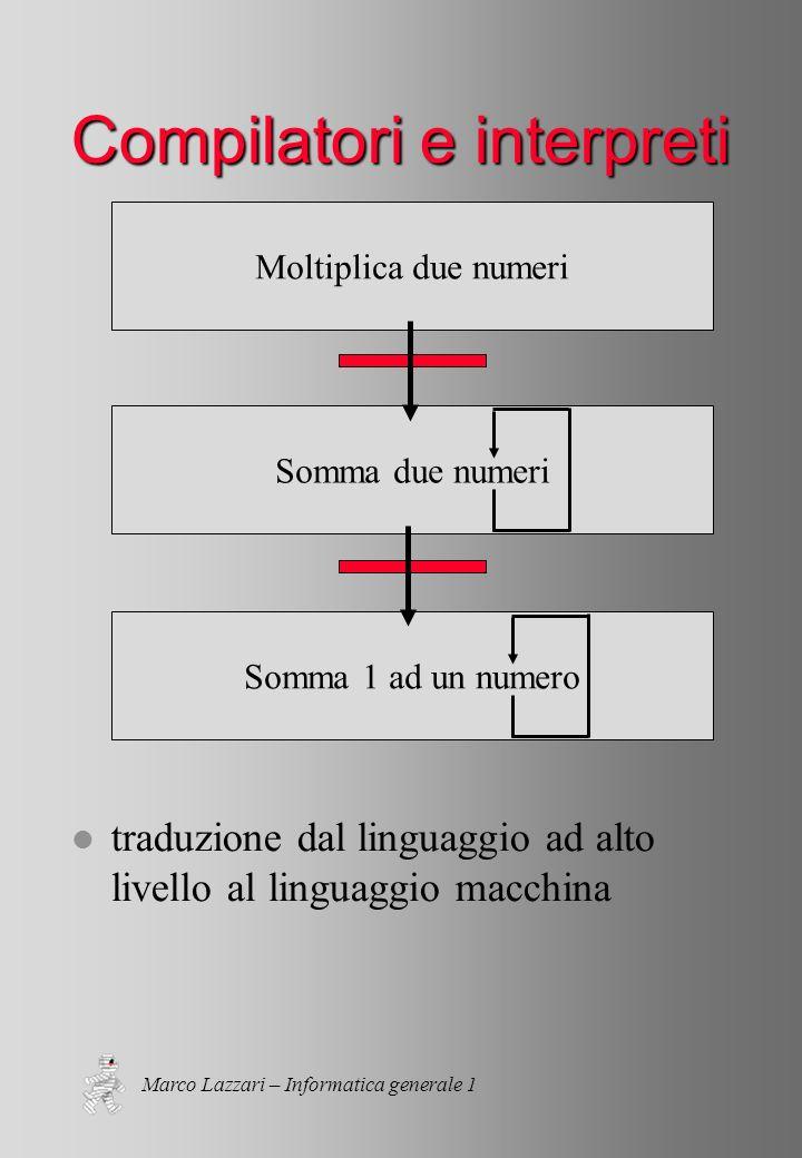 Marco Lazzari – Informatica generale 1 Somma 1 ad un numero Somma due numeri Moltiplica due numeri Compilatori e interpreti l traduzione dal linguaggio ad alto livello al linguaggio macchina