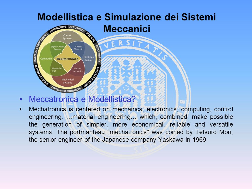 Meccatronica e Modellistica? Mechatronics is centered on mechanics, electronics, computing, control engineering. …material engineering… which, combine