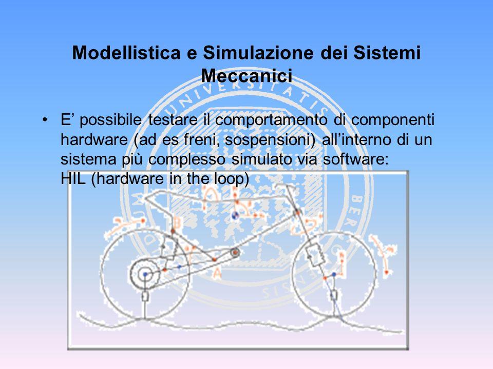 Modellistica e Simulazione dei Sistemi Meccanici E possibile testare il comportamento di componenti hardware (ad es freni, sospensioni) allinterno di