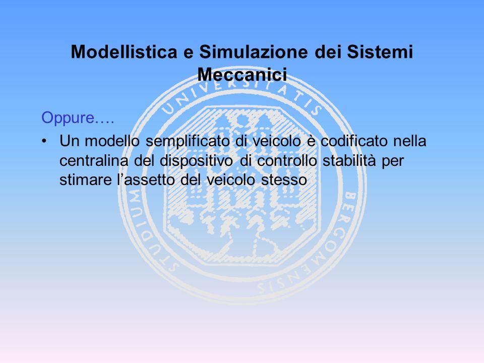 Oppure…. Un modello semplificato di veicolo è codificato nella centralina del dispositivo di controllo stabilità per stimare lassetto del veicolo stes