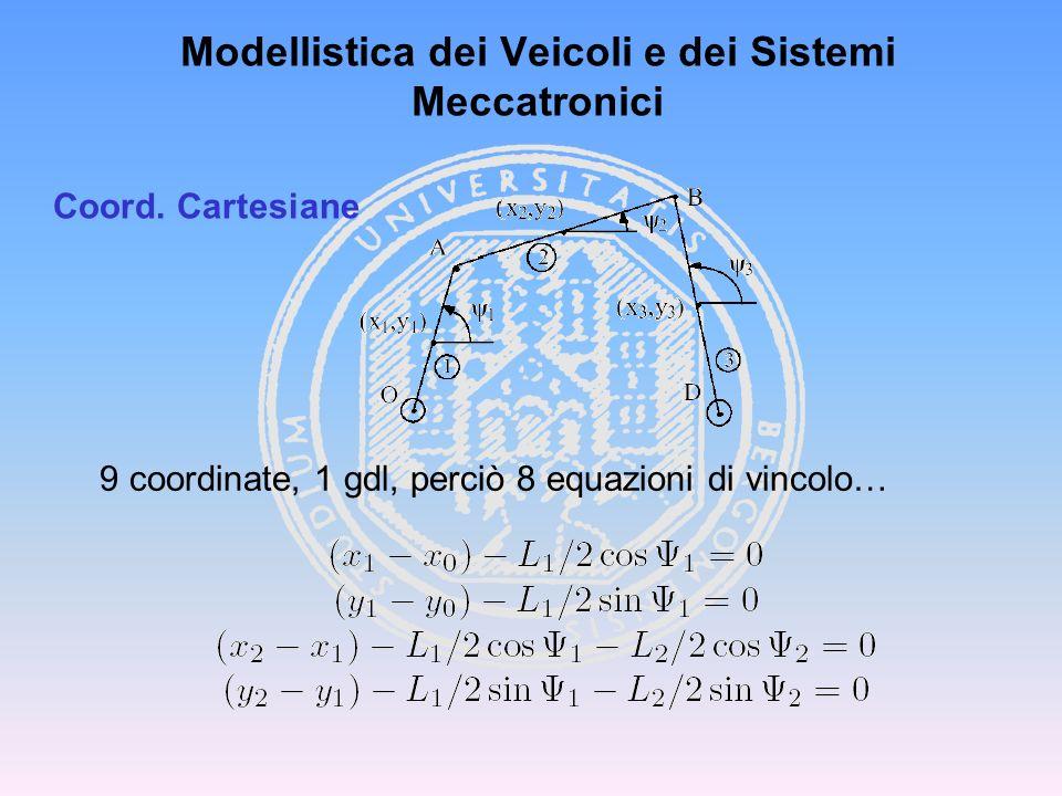 Modellistica dei Veicoli e dei Sistemi Meccatronici Coord. Cartesiane 9 coordinate, 1 gdl, perciò 8 equazioni di vincolo…