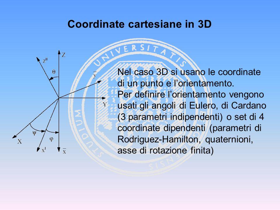 Coordinate cartesiane in 3D Nel caso 3D si usano le coordinate di un punto e lorientamento. Per definire lorientamento vengono usati gli angoli di Eul